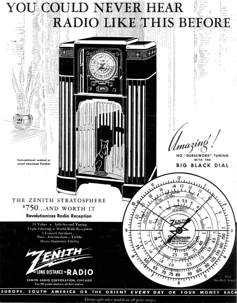 Zenith And The Stratosphere. The Ad That Appeared In Life Magazine December 1934. Wiring. Zenith Tube Radio Schematics 39a At Scoala.co